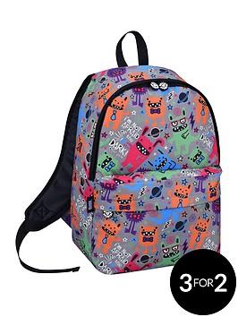 david-goliath-all-over-monster-print-grey-backpack