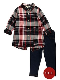 river-island-mini-mini-girls-red-check-shirt-leggings-set