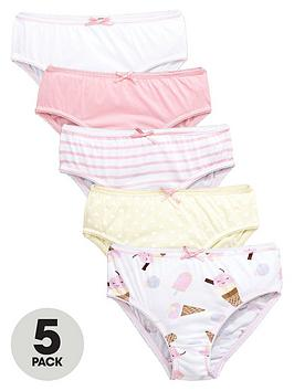 Mini V By Very Girls Ice Cream And Lollipop Knickers (5 Pack)
