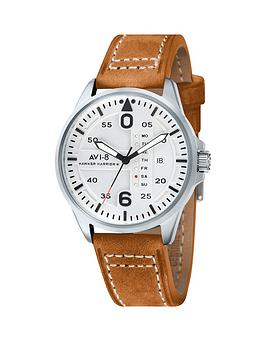 avi-8-avi-8-hawker-harrier-ll-white-dial-tan-leather-strap-mens-watch