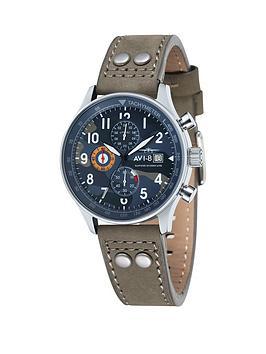 avi-8-avi-8-hawker-hurricane-camoflage-dial-biege-leather-strap-mens-watch