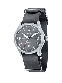 Avi8 Avi8 Flyboy Grey Dial Grey Leather Nato Strap Mens Watch