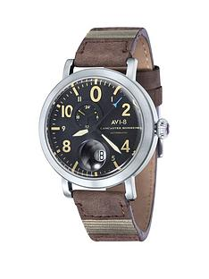 avi-8-avi-8-lancaster-bomber-black-patterned-dial-brown-leather-strap-mens-watch