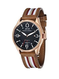 avi-8-avi-8-hawker-harrier-ll-black-dial-tan-leather-strap-mens-watch-includes-additional-black-nylon-nato