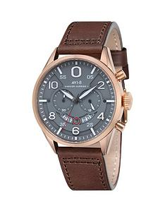 avi-8-avi-8-hawker-harrier-ll-grey-dial-brown-leather-strap-mens-watch