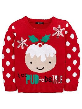 Mini V By Very Girls Too Pud To Be True Christmas Jumper
