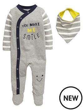 ladybird-baby-boys-smile-sleepsuit-and-bib-set