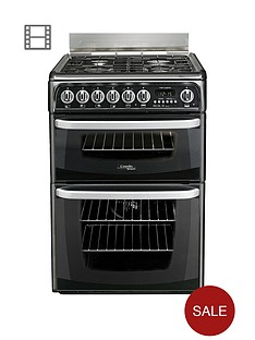 cannon-by-hotpointnbspch60dhkfnbsp60cmnbspelectric-double-oven-cookernbspand-gas-hob-with-fsd-black