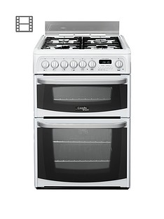 cannon-by-hotpointnbspch60dhwf-60cm-double-oven-electric-cookernbspand-gas-hob-with-fsdnbsp--white