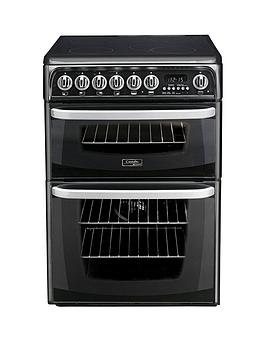 Cannon   By Hotpoint Ch60Ekk 60Cm Double Oven Electric Cooker With Ceramic Hob - Black