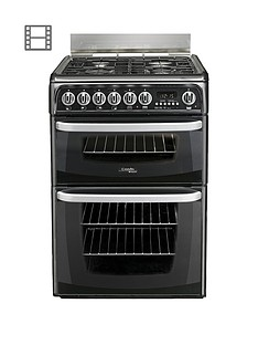 cannon-by-hotpoint-ch60gcik-60cmnbspdouble-oven-gas-cookernbspand-gas-hob-with-fsdnbsp--black