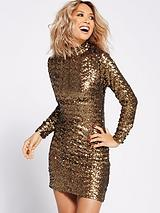 All-over Sequin Shift Dress - Gold