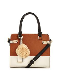 miss-selfridge-colour-block-bag-with-pom-pom