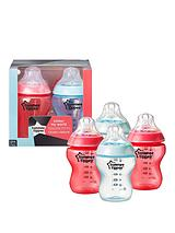 Closer to Nature 260ml Blue & Red Baby Bottles (4 pack)