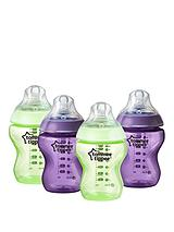 Closer to Nature 260ml Purple & Green Baby Bottles (4 pack)