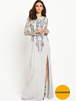 maya-backless-embellished-long-sleeve-maxi-dress-grey