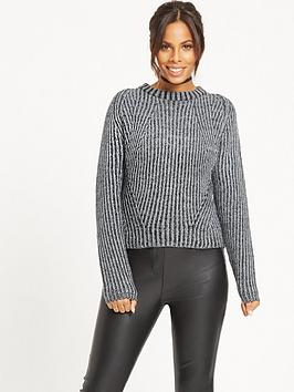rochelle-humes-salt-and-pepper-chunky-knit-jumper-blackwhite