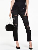 Embroidered Chewed Hem Straight Leg Jean