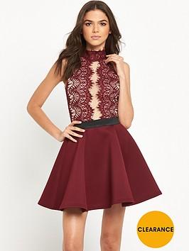 rare-high-neck-lace-plunge-skater-dress