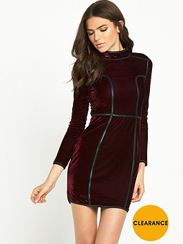 rare-long-sleeve-high-neck-velvet-dress-wine