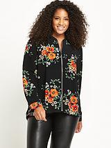 Zip Through Shirt Bomber - Floral Print