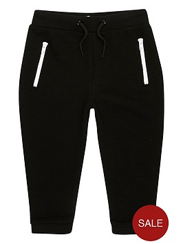 river-island-mini-boys-black-ribbed-zip-joggers