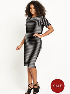 so-fabulous-textured-stripe-double-layer-dress-blackwhite