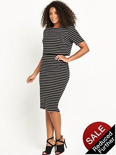 so-fabulous-textured-stripe-double-layer-dress-blackwhite