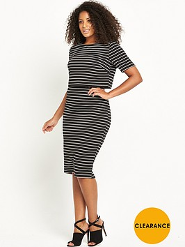 v-by-very-curve-textured-stripe-double-layer-dress-blackwhite