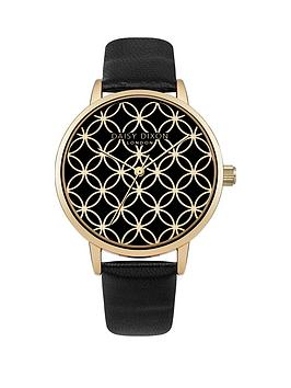 daisy-dixon-penny-black-gold-circle-detail-dial-black-leather-strap-ladies-watch