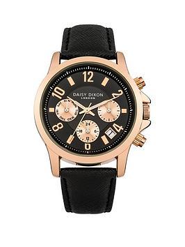 Daisy Dixon Adriana Black Rose Gold Detail Multi Dial Black Leathet Strap Ladies Watch