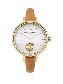 daisy-dixon-gracie-white-dial-warm-grey-leather-strap-ladies-watch