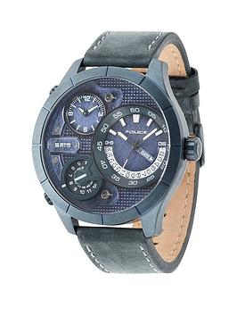 Police Police Bushmaster Blue Multi Dial Blue Leather Strap Mens Watch