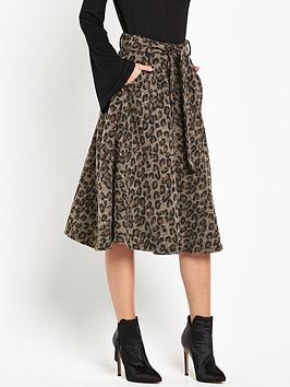 Lost Ink Animal Print Midi Skirt