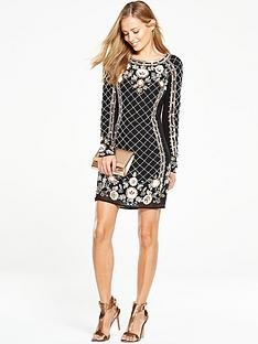 v-by-very-embellished-criss-cross-floral-dress