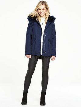 V By Very Short Swing Parka Coat With Faux Fur Hood