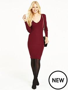 v-by-very-v-neck-ribbed-midi-dress