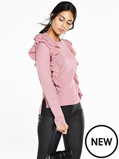 v-by-very-crew-neck-double-layer-ruffle-front-jumper
