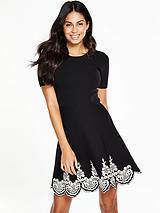 Jacquard Hem Knitted Skater Dress