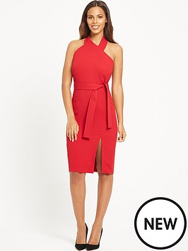 rochelle-humes-halter-neck-fitted-dress-red