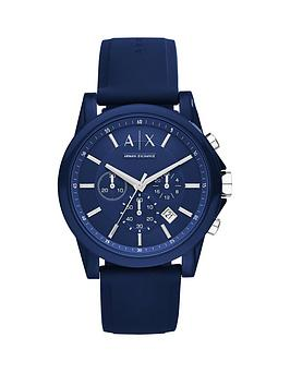 Armani Exchange Blue Dial Blue Silicone Strap Mens Watch