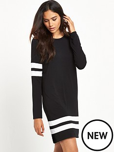 river-island-river-island-long-sleeved-stripe-sports-dress