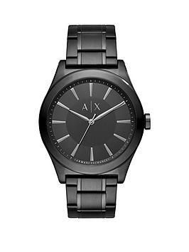 Armani Exchange Black Dial Black Stainless Steel Bracelet Mens Watch