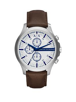 Armani Exchange White Dial Blue Accent Chronograph Brown Leather Strap Mens Watch