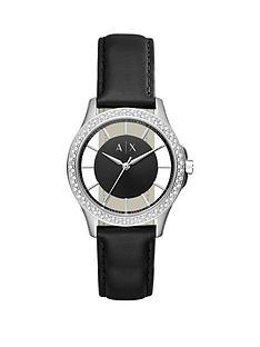 armani-exchange-black-dial-stone-bezel-black-leather-strap-ladies-watch