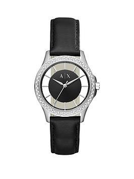 Armani Exchange Black Dial Stone Bezel Black Leather Strap Ladies Watch