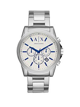 Armani Exchange Outerbank White Dial Blue Accent Chronograph Stainelss Steel Bracelet Mens Watch
