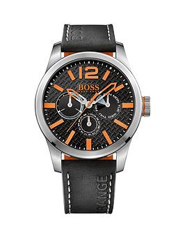 Hugo Boss Hugo Boss Paris Black Dial Orange Accents Black Strap Mens Watch