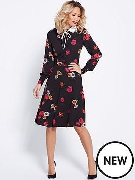 myleene-klass-button-front-printed-tea-dress-black