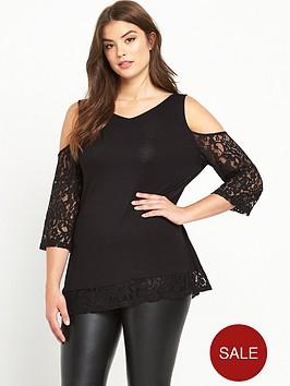 v-by-very-curve-cold-shoulder-lace-trim-top-black